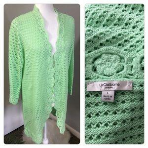 Liz Claiborne Green Crochet Long Duster Cardigan L